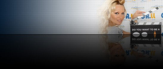 Pamela Anderson Visit California banner at celebrity.co.uk - celebrity agents